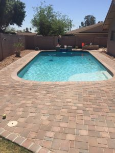 Remodels - Resurface with Pebble, replace pool tile, custom water feature, and new paver deck 4,aqua shine